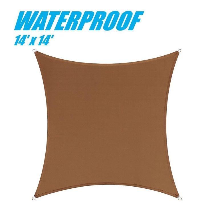 100% BLOCKAGE Waterproof 14' x 14' Sun Shade Sail Canopy Square Brown