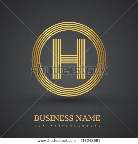 Elegant gold letter symbol. Letter H logo design. Vector logo design template elements  for company identity. - stock vector
