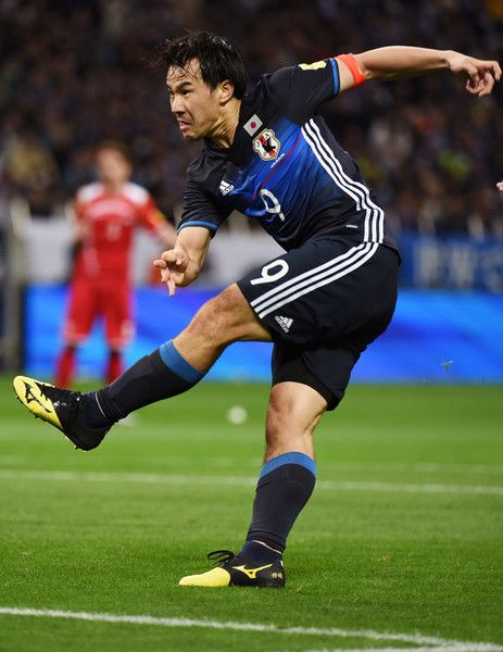 Shinji Okazaki Photos - Shinji Okazaki of Japan shoots at goal during the FIFA World Cup Russia Asian Qualifier second round match between Japan and Syria at the Saitama Stadium on March 29, 2016 in Saitama, Japan. - Japan v Syria - FIFA World Cup Asian Qualifier 2nd Round