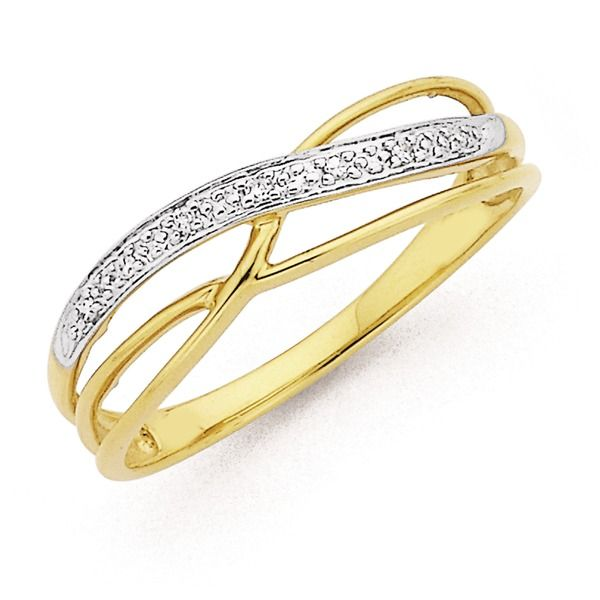 9ct Diamond Two Tone Ring