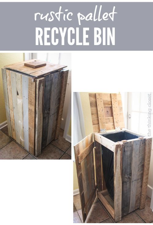 Rustic Pallet Recycle Bin.  G http://www.thinkingcloset.com/2014/05/23/recycling-pallets-into-a-rustic-recycle-bin/