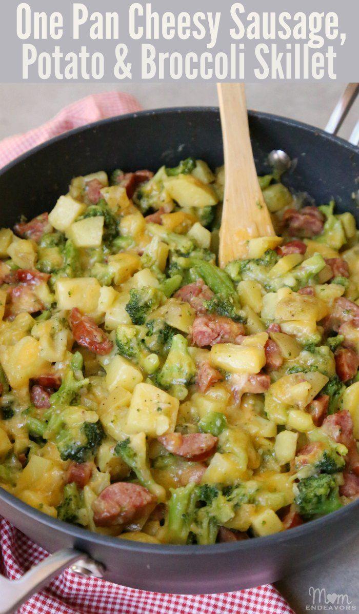 cheesy sausage potato and broccoli skillet  recipe