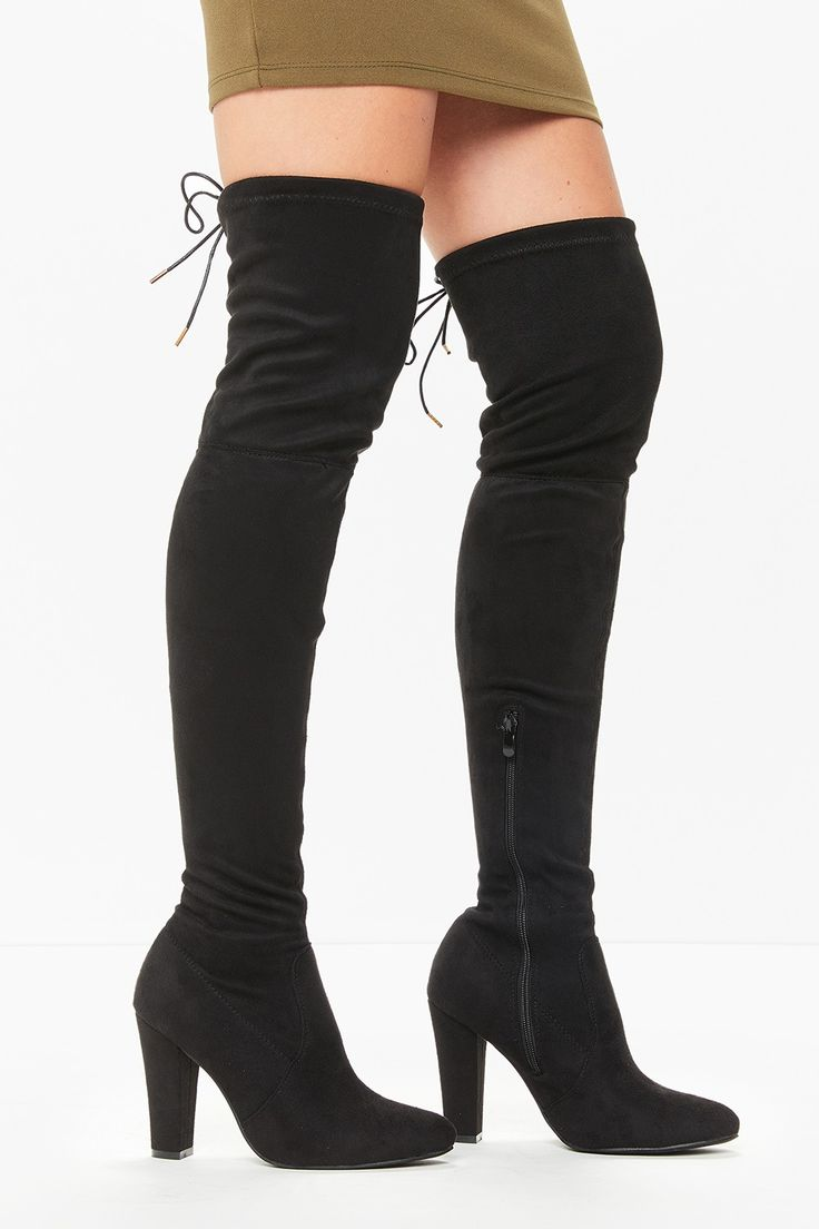 Sabrina Black Suede Over The Knee Boots
