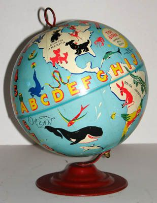 Dave Gerard (1909-2003) (artist) George F. Cram Co., Inc. (publisher) Toy Globe Indianapolis: c. 1950s Stepped round metal base 10 inches high, 5.5 inches diameter base.  (Photograph and information from antiquarian/antiques specialists George Glazer Gallery.  Also, it is SOLD.)