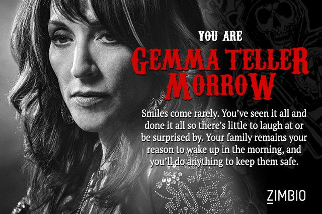 I took Zimbio's 'Sons of Anarchy' character quiz and I'm Gemma Teller Morrow! Who are you?null - Quiz