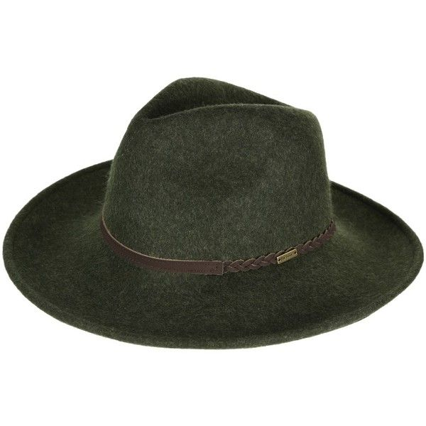 Barbour Tack Fedora Hat - Olive Melange (240 PEN) ❤ liked on Polyvore featuring accessories, hats, olive hat, felt fedora, felt fedora hat, olive green hat and block hats