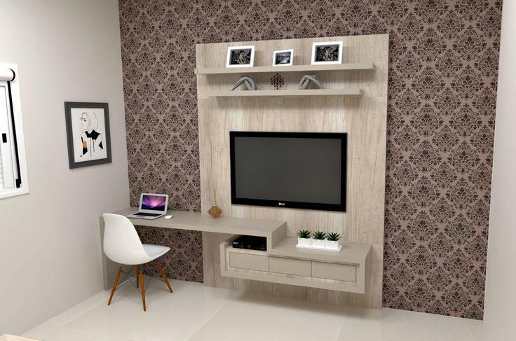 Quarto Vira Sala De Tv ~ Painel de Tv com mesa de estudo para quarto suite, usando MDF Mezzo