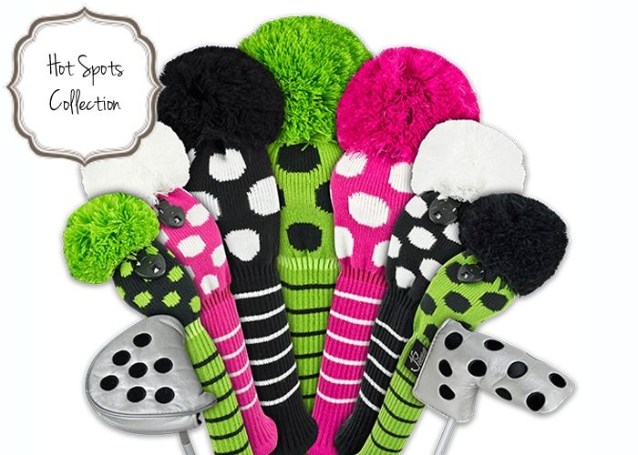 A burst of color for your #golf bag. Love these Knit Headcovers | #Golf4Her #dots