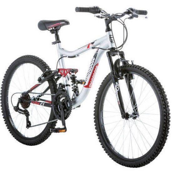 """24"""" Mongoose Ledge 2.1 Boys' Mountain Bike 21 Speed Full Suspension Shimano Rear #Mongoose"""