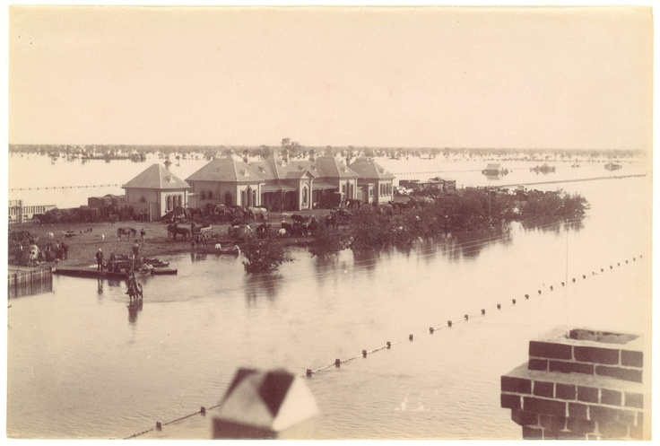 Railway line at Bourke in flood, from Sir Edward Knox family papers, 1880-1893.  Find more information about this photograph: http://acms.sl.nsw.gov.au/item/itemDetailPaged.aspx?itemID=421796  From the collection of the State Library of New South Wales: www.sl.nsw.gov.au