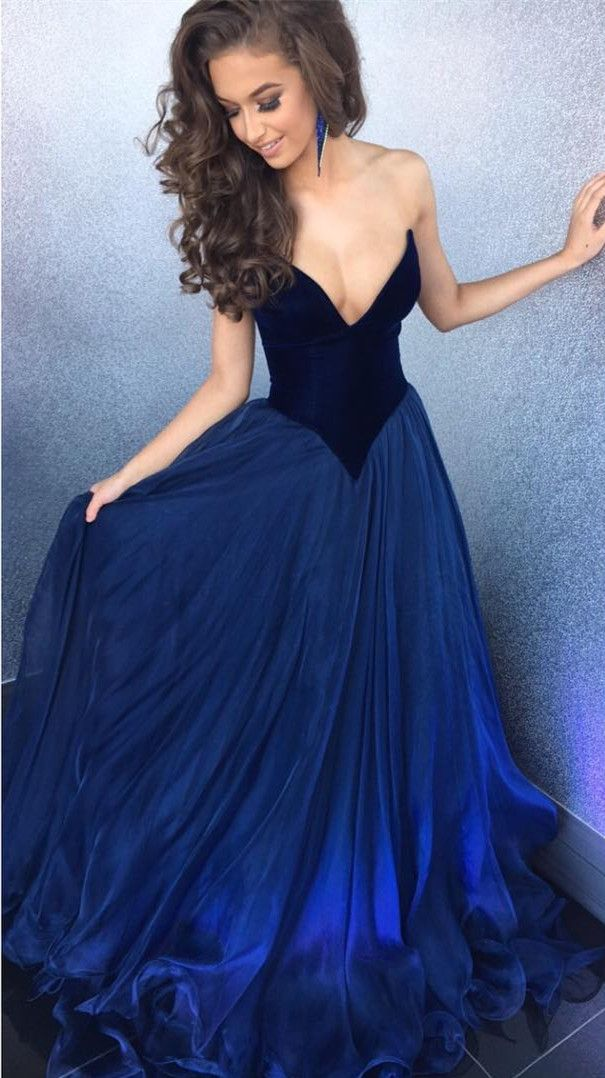Sexy Strapless Bodice Corset Long Organza Navy Blue Prom Dresses Ball Gowns 2017