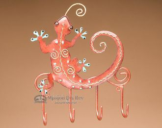 "Southwestern Iron Art 4 Hook Rack 7""x8"" -Gecko (ia29) - Mission Del Rey Southwest"
