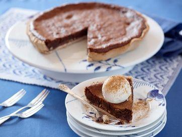 En billig luksuskage. Der er kun brugt 50 g chokolade og kakao for resten, så tærten er billig, men det kan man bare ikke smage!