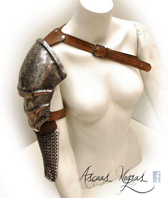 Norse fantasy steel and leather shoulder armor with chainmaille. Viking armor. Barbarian Style. Tribal armor. Larp Party Costume.