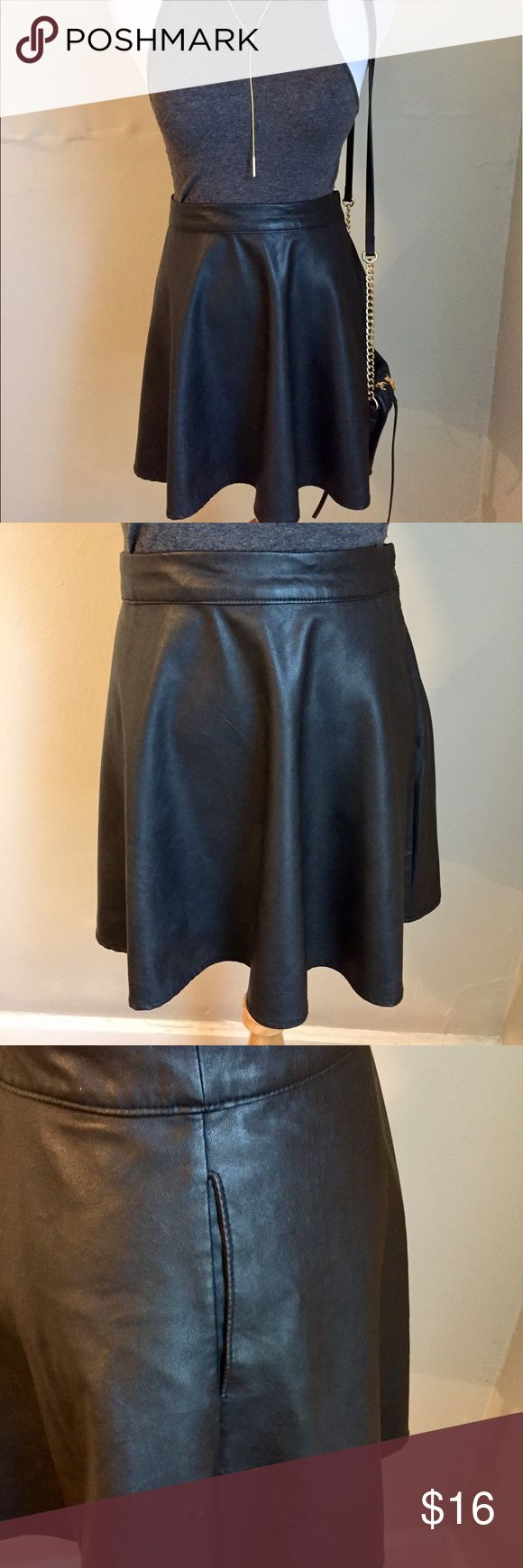 Abercrombie & Fitch black leather skater skirt  S Cute & flirty black leather skater skirt from Abercrombie & Fitch. Features two side pockets. Pare with a crop top, strappy wedges, and you've got the perfect party look. Abercrombie & Fitch Skirts Mini