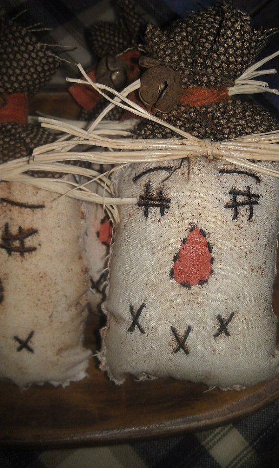 Primitive Handstitched Fall Scarecrow Ornies Tucks by PrimsByJen, $3.00