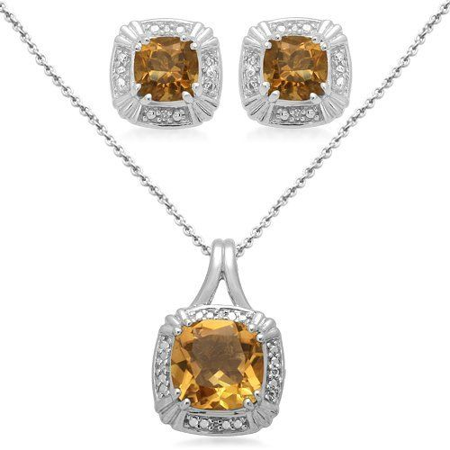 """Sterling Silver Cushion Citrine and Diamond Ring, Pendant Necklace, Earrings Box Set, Size 7 Amazon Curated Collection. Save 56 Off!. $107.00. Width of Pendant:0.49"""", Width of Ring:0.20"""", Width of Earring:0.37"""". All our diamond suppliers certify that to their best knowledge their diamonds are not conflict diamonds.. Length of Pendant:18"""", Length of Ring:0.50"""", Length of Earring:0.25"""". Height of Pendant:0.75"""", Height of Ring:1.03"""", Height of Earring:0.37"""". The natural propertie..."""