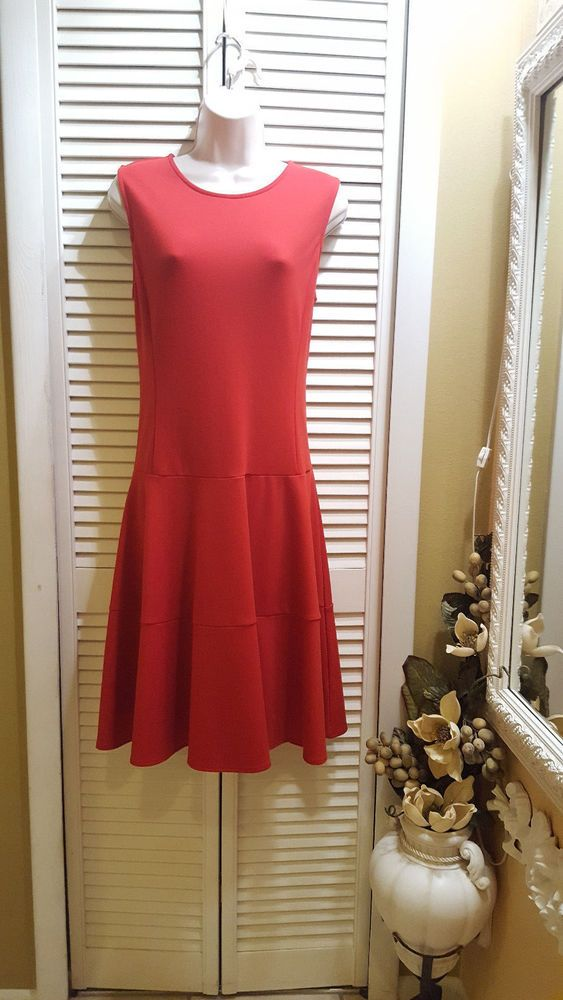 Land's End Red Dress Sleeveless Size 12 #LandsEnd #Casual