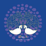 Wedding Invitations Plumes in Bloom Royal Blue