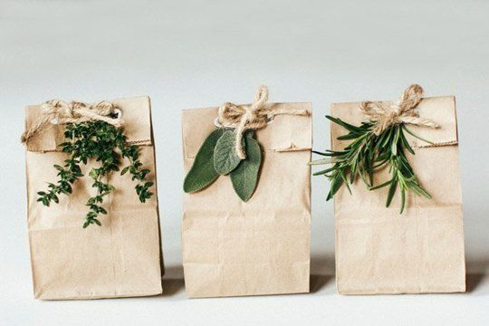Need to wrap it fast?  You just need a few herbs, a lunch bag, a hole punch, some twine and you're good to go.