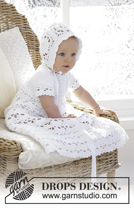 So Charming / DROPS Baby 29-3 - The set is made up of: Dress for Christening or special occasions, worked top down with raglan and open fan pattern in DROPS Safran. Crochet hat with flower squares and fan edge in DROPS Safran. Sizes 0 - 2 years. - Free pattern by DROPS Design
