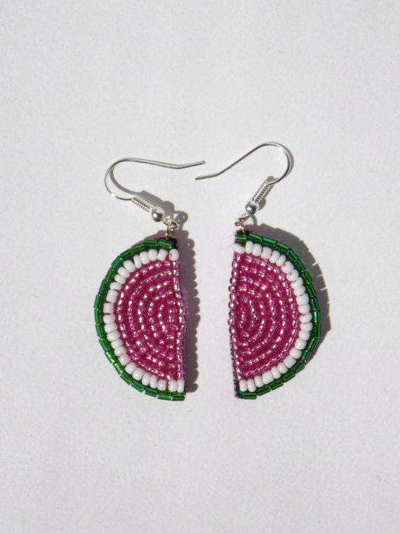 Boucles d'oreilles Pastèque en perles Brodées 3 cm par 221Broderie