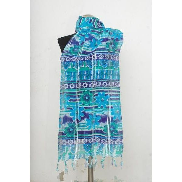 Amtal Women Blue White Abstract Lightweight Print Scarf (13 BAM) ❤ liked on Polyvore featuring accessories, scarves, light weight scarves, viscose scarves, blue and white scarves, print scarves and lightweight scarves
