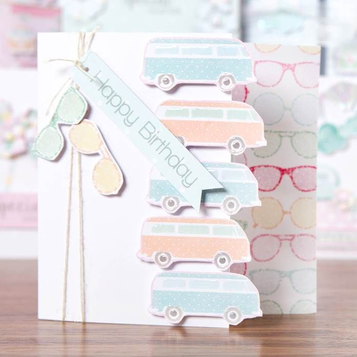 Campervan and sunglasses themed card from the @craftworkcards Summer Days! Shop now at C+C: http://www.createandcraft.tv/pp/craftwork-cards-summer-days---cards%2c-ins-345342?p=1 #papercraft #cardmaking