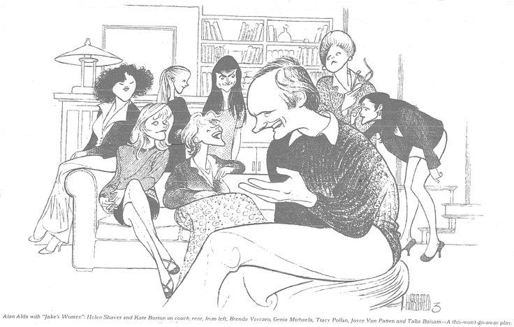 "Alan Alda, Brenda Vaccaro, Helen Shaver, Genia Michaela, Kate Burton, Tracy Pollan, Joyce van Patten, and Joyce Balsem in ""Jake's Women"""