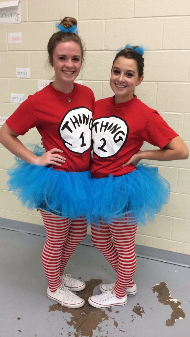 Thing One and Thing Two costumes for Twin day! Red Thing One and Two shirts, blue DIY tutus, Nike shorts, Red and White Striped Leggings, and White Converse!