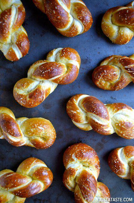 Homemade Soft Pretzel Twists | http://www.justataste.com/2014/02/homemade-soft-pretzel-twists-recipe/
