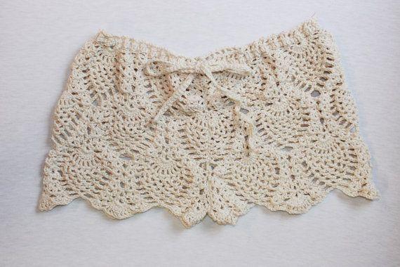 Crochet lace ecru beach shorts crochet lace door MakesCraftsNotWar