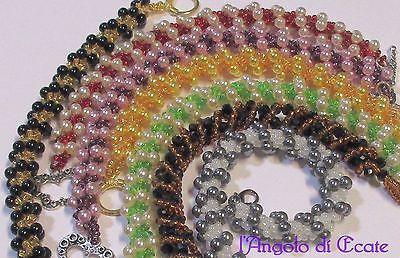 BRACCIALI BRACCIALETTI da donna artigianali perline mezzi cristalli fatti a mano