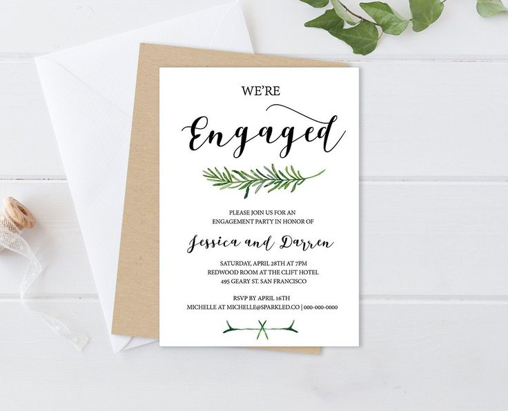 DIY Greenery Engagement Party Invitation Template