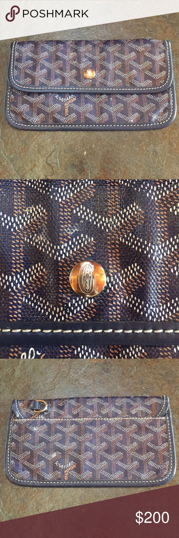 Goyard walletExcellent condition. Navy blue Bought Goyard tote off poshmark so poshmark confirmed authenticity. Love the tote but will never use the wallet. Excellent condition and super cute! Goyard Bags