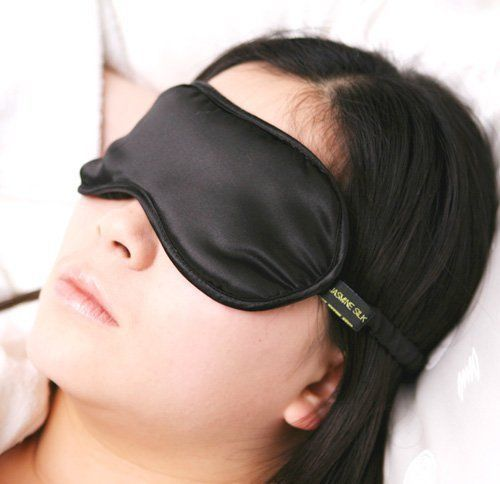 Sleeping Mask BLACK Pure Silk Filled For Travel Home Relax Better Sleep