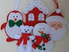 Patrones de decoraciones de Navidad de fieltro.