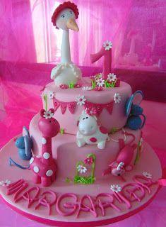FLOWER CAKE DESIGNER: Bolo de aniversário menina 1 ano!