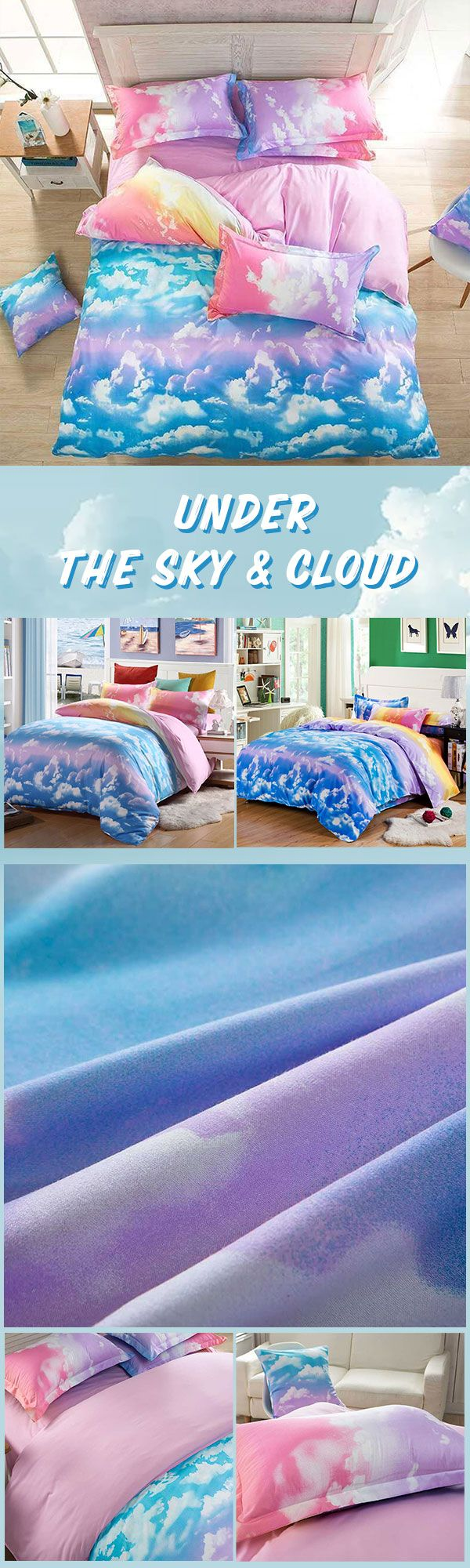 have a sweet dream under the sky  Save $26.77 Cloud Print Single Twin King Quilt Duvet Cover Bedding Sheet Pillowcases Set