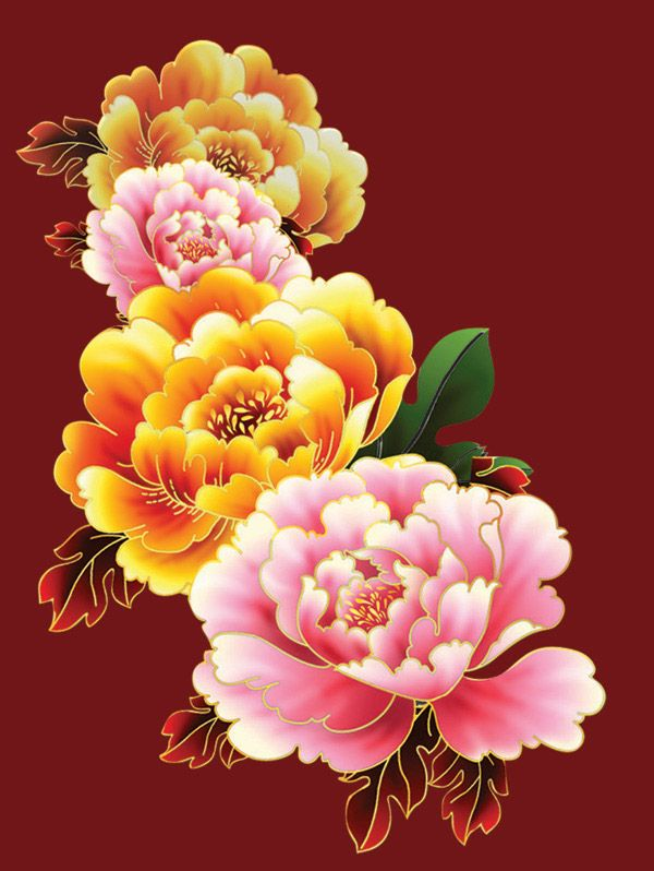 Chinese painting Peony flower