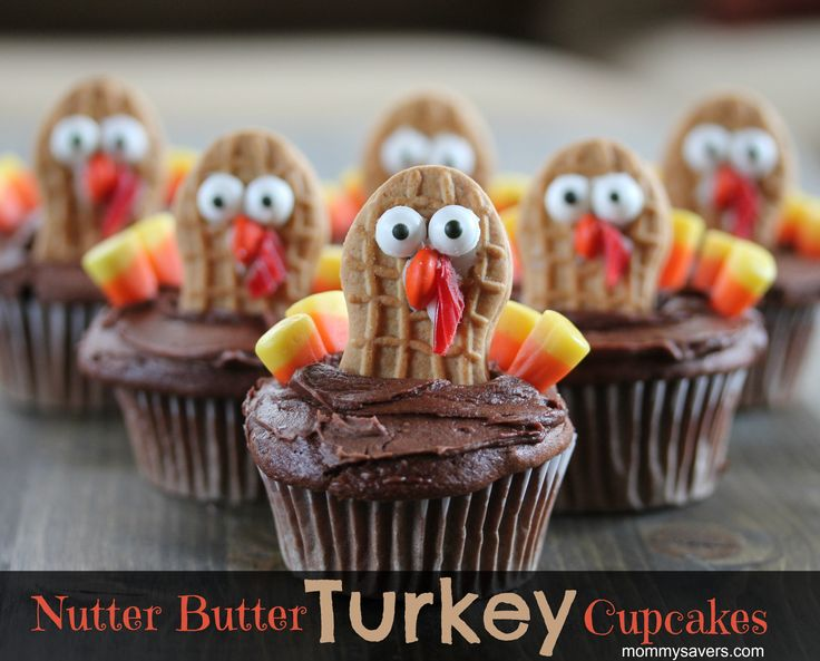 Nutter Butter Turkey Cupcakes How cute are these Nutter Butter Turkey Cupcakes? They're another fun way to use the Wilton Candy Eyes I love so much (who doesn't love the silly faces t…