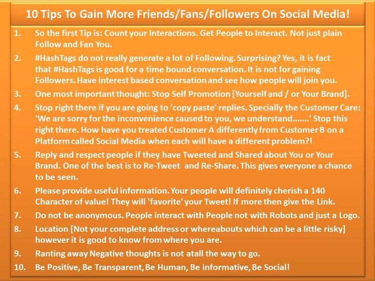 10 Tips To Gain More FriendsFansFollowers On Social Media