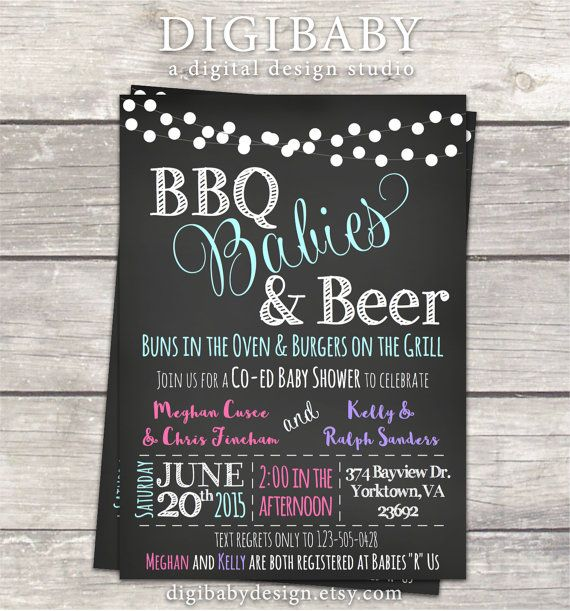 Joint baby shower, BBQ Babies and Beer boy and/or girls Baby shower invitations by DigiBabyDesign