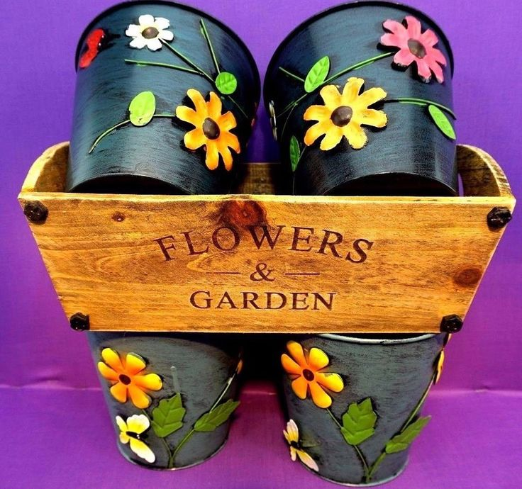 """4 Large Colourful Metal Flower Plant Pots 6"""" Planter 1 larger wood  shabby chic"""
