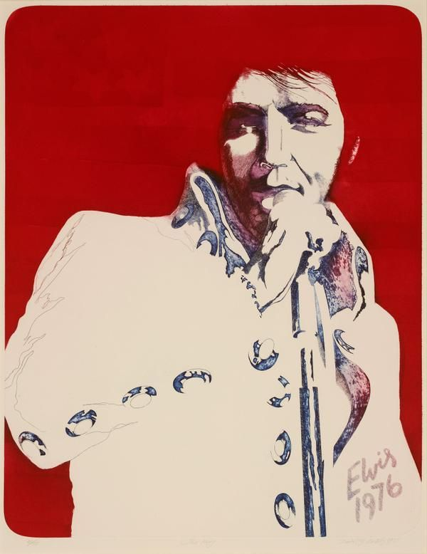 #ElvisPresley died #onthisday (portrait by David Oxtoby) http://ow.ly/QXGgR @RedfernGallery @CervantesMHC