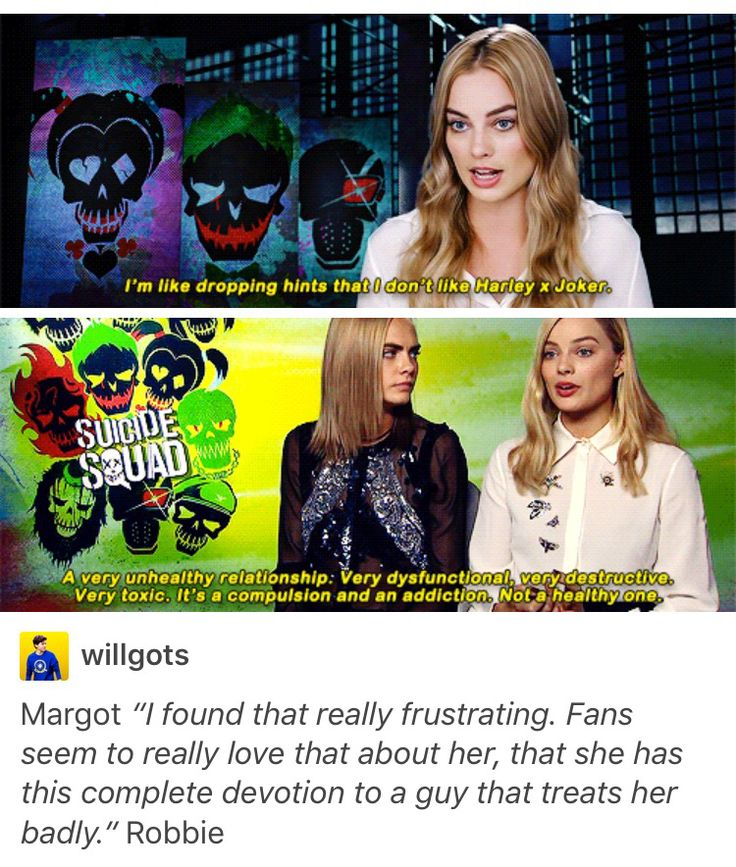 Margot Robbie agreeing that Harley Quinn and Joker should not be shipped, that it is a toxic relationship