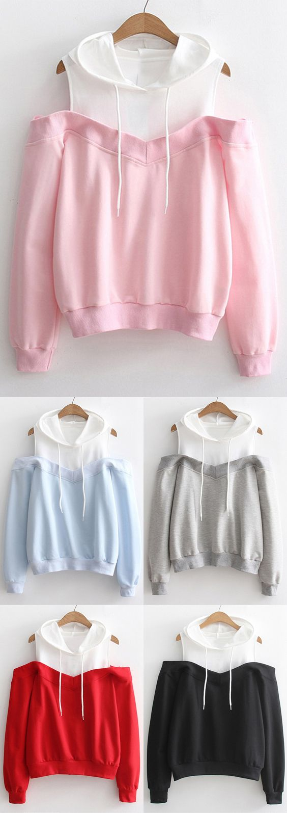 Two Tone Cold Shoulder Hoodie