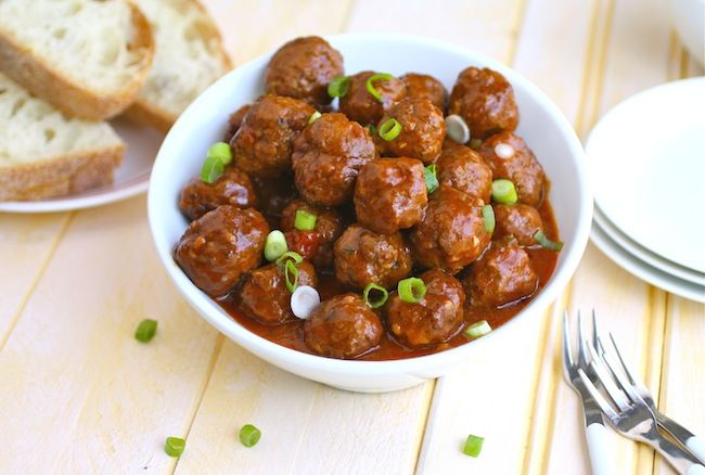Spanish-style Meatballs garnished with green onion