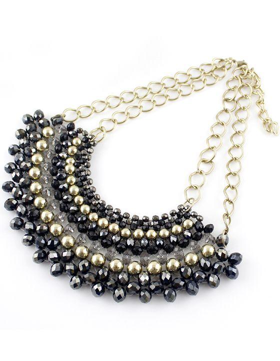 Collar+cadenas+dorado+perlas+negro+EUR€5.51