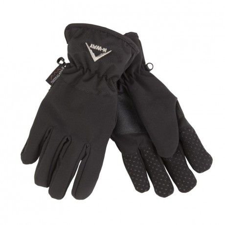 Softshell glove with Thinsulate padding, a PVC-grip palm patch and an elasticated wrist.